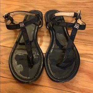 Navy Blue Coach Leather Sandals
